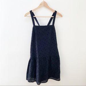Uniqlo black mini crochet dress floral S